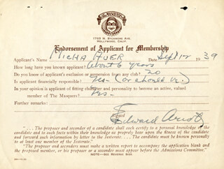 Autographs: EDWARD ARNOLD - DOCUMENT SIGNED 09/12/1939