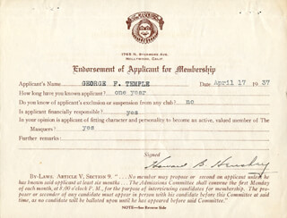 HOWARD B. HENSHEY - DOCUMENT SIGNED 04/17/1937
