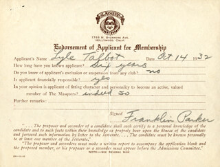 FRANKLIN PARKER - DOCUMENT SIGNED 10/14/1932