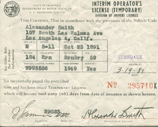 ALEXANDER SMITH - DOCUMENT SIGNED 03/19/1951