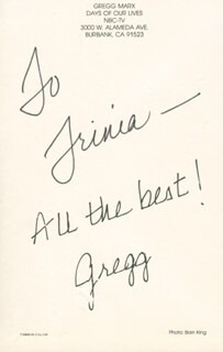 GREGG MARX - AUTOGRAPHED INSCRIBED PHOTOGRAPH