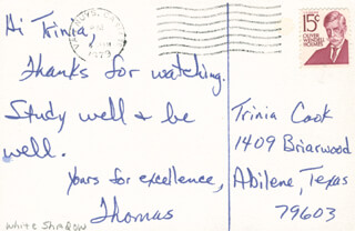 THOMAS CARTER - INSCRIBED PICTURE POSTCARD SIGNED 1979