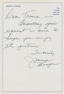 JEANNE COOPER - AUTOGRAPH LETTER SIGNED