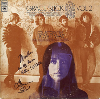 JEFFERSON AIRPLANE (GRACE SLICK) - INSCRIBED RECORD ALBUM COVER SIGNED