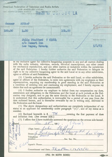 JULIE STAFFORD - DOCUMENT SIGNED 12/28/1961
