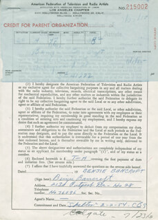 BENJIE BANCROFT - DOCUMENT SIGNED CIRCA 1955