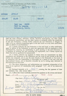 TERI LEE - DOCUMENT SIGNED 11/13/1962