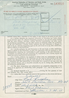 BOB PEOPLES - DOCUMENT SIGNED 07/26/1954
