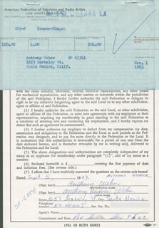 ANTHONY ANDREW WEBER - DOCUMENT DOUBLE SIGNED 09/05/1963