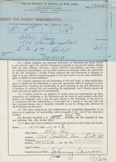 ALEX RUIZ - DOCUMENT SIGNED 11/16/1956