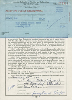 DIANE DAILEY JOHNSON - DOCUMENT SIGNED 02/24/1958