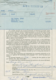 KAY HUGHES - DOCUMENT SIGNED 08/24/1955