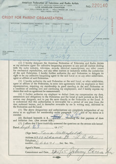 TANA WATERFIELD - DOCUMENT SIGNED 09/23/1955
