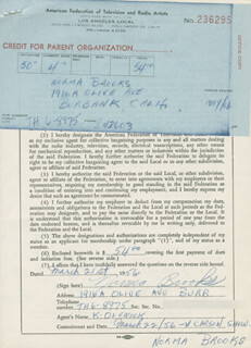 NORMA BROOKS - DOCUMENT SIGNED 03/21/1956
