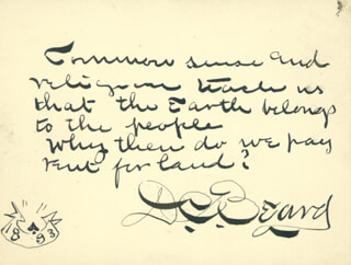 Autographs: DANIEL C. BEARD - AUTOGRAPH QUOTATION SIGNED 11/20/1893