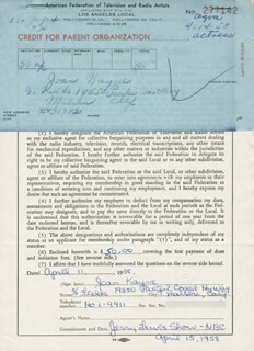 JOAN KAYNE - DOCUMENT SIGNED 04/11/1958