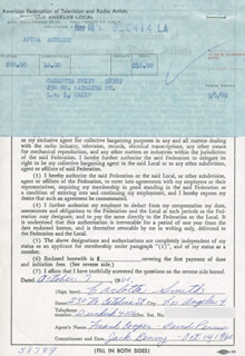 CARLOTTA SMITH - CONTRACT SIGNED 10/07/1960
