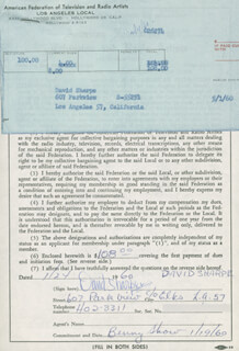DAVID SHARPE - DOCUMENT SIGNED 01/24/1960