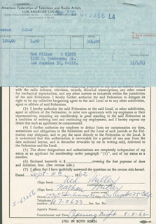 NED (NATHAN) MILLER - DOCUMENT DOUBLE SIGNED 09/04/1962