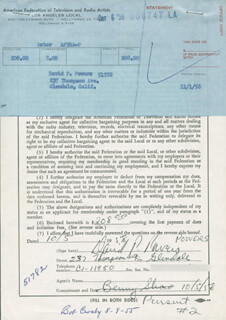 DAVID P. DAVE POWERS - DOCUMENT SIGNED 10/05/1958