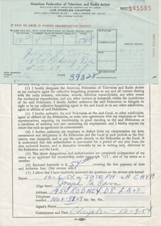 Autographs: JOSEPH LA CAVA - DOCUMENT SIGNED 12/06/1954