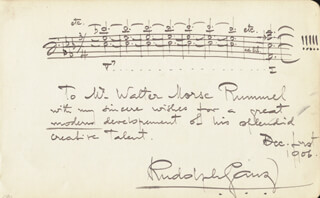 RUDOLPH GANZ - INSCRIBED AUTOGRAPH MUSICAL QUOTATION SIGNED 12/01/1906