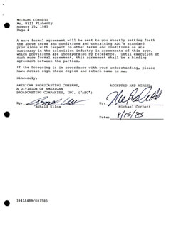 MICHAEL CORBETT - CONTRACT SIGNED 08/15/1985