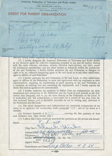 CHUCK HICKS - DOCUMENT SIGNED 04/08/1954