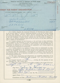 JOHN M. ERMAN - DOCUMENT SIGNED 09/19/1956