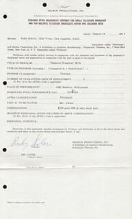 RUDY SOLARI - CONTRACT SIGNED 08/17/1964