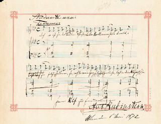ANTON RUBINSTEIN - AUTOGRAPH MUSICAL QUOTATION SIGNED 03/01/1872
