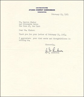 ADMIRAL HYMAN G. RICKOVER - TYPED LETTER SIGNED 02/23/1961