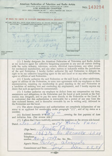 RENATA VANNI - DOCUMENT SIGNED 12/23/1954