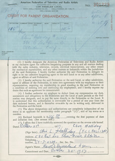 CLIVE HALLIDAY - DOCUMENT DOUBLE SIGNED 10/25/1957