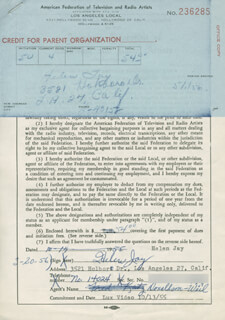 HELEN JAY - DOCUMENT SIGNED 03/20/1956