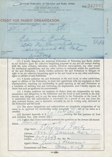 EDWARD EARLE - DOCUMENT SIGNED 03/02/1954