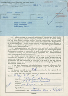 MARTIN KEEVER - DOCUMENT SIGNED 05/29/1958