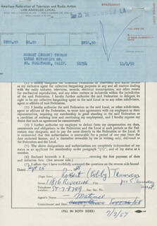 ROBERT BOBBY TRUMAN - DOCUMENT SIGNED 09/25/1958