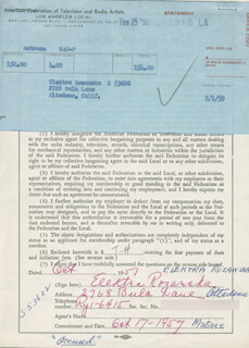 ELEKTRA COUNTESS ROZANSKA - DOCUMENT SIGNED 10/17/1957