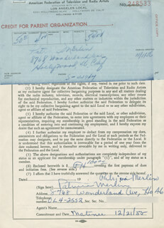 PATRICIA MERLIN - DOCUMENT SIGNED 12/21/1955