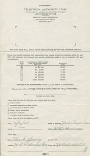 BUCK YOUNG - DOCUMENT SIGNED 10/16/1952
