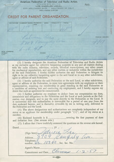 PATRICIA LEE - DOCUMENT SIGNED 01/02/1957