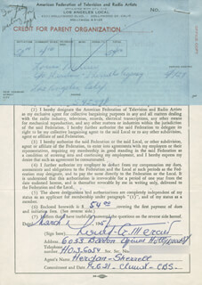 LOUIS MERCIER - DOCUMENT SIGNED 03/01/1957
