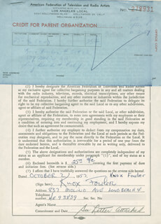 KNOX FOWLER - DOCUMENT SIGNED 10/02/1957
