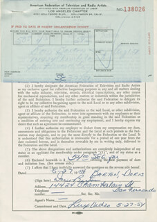 DORIS BARTON - DOCUMENT SIGNED 05/27/1954