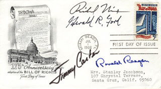 THE FOUR PRESIDENTS - FIRST DAY COVER SIGNED CO-SIGNED BY: PRESIDENT JAMES E. JIMMY CARTER, PRESIDENT RONALD REAGAN, PRESIDENT RICHARD M. NIXON, PRESIDENT GERALD R. FORD