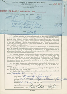 MARILEE JONES - DOCUMENT SIGNED 11/21/1957