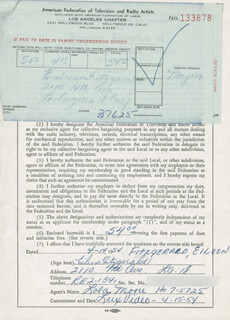 EILEEN FITZGERALD - DOCUMENT SIGNED 04/14/1954