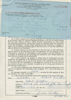 ALBERT WALTERS - DOCUMENT SIGNED 10/19/1955