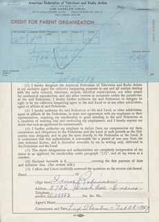 TENSE ROBINSON - DOCUMENT SIGNED 02/28/1957